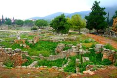 Old Greek corinth. Landscapes of ancient Greece Royalty Free Stock Photo