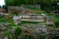 Old Greek corinth. Landscapes of ancient Greece. the remains of the old corinth Royalty Free Stock Photo