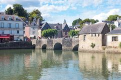 Landscapes and architectures of Brittany. Auray, France - August 7, 2017: The ancient houses around the Saint Goustan harbor and bridge Stock Image