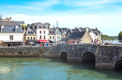 Landscapes and architectures of Brittany. Auray, France - August 7, 2017: The ancient Saint Goustan bridge near the harbor in the center of the village Stock Photography