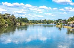 Landscapes and architectures of Brittany. Auray, France - August 7, 2017: Panoramic view from the ancient Saint Goustan bridge near the harbor Stock Photo