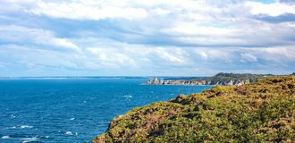 Landscapes and architectures of Brittany. Cap Frehel, France, panoramic view of the Emerald coast Royalty Free Stock Photos