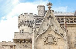 Landscapes and architectures of Brittany. Concarneau, France - August 10, 2017: Detail of the main facade of the De  Keriolet castle Stock Photos