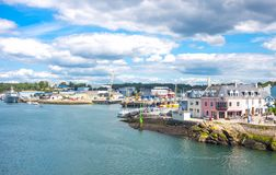 Landscapes and architectures of Brittany. Concarneau, France - August 10, 2017: The fishermen harbor seen from the Ville Close ramparts Stock Photography