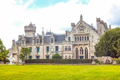 Landscapes and architectures of Brittany. Concarneau, France - August 10, 2017: View of the main facade of the De  Keriolet castle Royalty Free Stock Photography