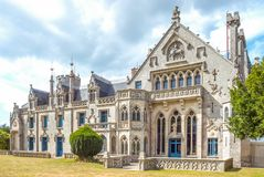 Landscapes and architectures of Brittany. Concarneau, France - August 10, 2017: View of the main facade of the De  Keriolet castle Royalty Free Stock Photo
