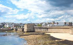 Landscapes and architectures of Brittany. Concarneau, France - August 10, 2017: View of the ramparts on the sea of Ville Close valled City Stock Images