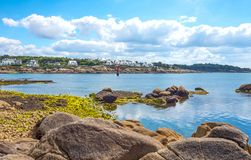 Landscapes and architectures of Brittany. Concarneau, France, the coastline of the Porzou quarter seen from the De La Croix seafront Royalty Free Stock Photos