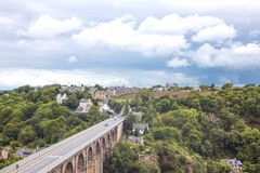 Landscapes and architectures of Brittany. Dinan, France - August 8, 2017: Panoramic view from the ramparts of the country Stock Images