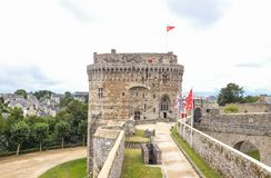 Landscapes and architectures of Brittany. Dinan, France - August 8, 2017: View of the main tower of the medieval catle Stock Images