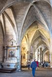 Landscapes and architectures of Brittany. Dinan, France - August 8, 2017: View of the nave of the Saint Sauveur basilica Royalty Free Stock Images