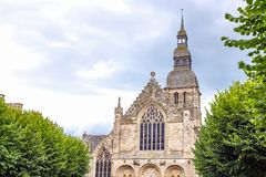 Landscapes and architectures of Brittany. Dinan, France, the facade of the  Saint Sauveur basilica Royalty Free Stock Photography