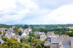 Landscapes and architectures of Brittany. Dinan, France, panoramic view on the country from the medieval catle Royalty Free Stock Images