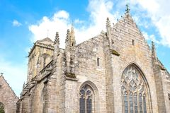 Landscapes and architectures of Brittany. Locronan, France , upward view of the apse of the St Ronan church Royalty Free Stock Image