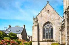 Landscapes and architectures of Brittany. Locronan, France ,view of the apse of the St Ronan church Royalty Free Stock Photo