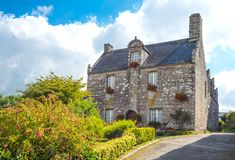 Landscapes and architectures of Brittany. Locronan, France, view of the traditional medieval houses in Charettes street Stock Image
