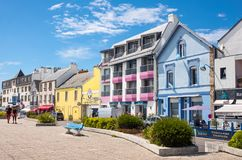 Landscapes and architectures of Brittany. Quiberon, France - August 9, 2017: The houses overlooking the Port Maria harbor Royalty Free Stock Images