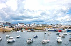 Landscapes and architectures of Brittany. Quiberon, France - August 9, 2017: Leisure boats in the Port Maria harbor Royalty Free Stock Photography