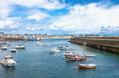 Landscapes and architectures of Brittany. Quiberon, France - August 9, 2017: Leisure boats in the Port Maria harbor Stock Image