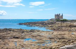 Landscapes and architectures of Brittany. Quiberon, France - August 9, 2017: View of the Turpault castle on the Bergerlan promontory Royalty Free Stock Image
