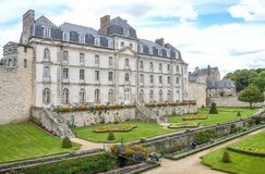 Landscapes and architectures of Brittany. Vannes, France - August 7, 2017: The L`Hermine castle seen from the garden Stock Images