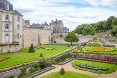 Landscapes and architectures of Brittany. Vannes, France - August 7, 2017: View of the city from the garden of the L`Hermine castle Stock Image