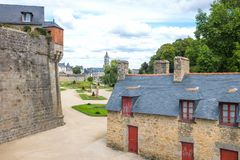 Landscapes and architectures of Brittany. Vannes, France - August 7, 2017: View of the city from the garden of the L`Hermine castle Royalty Free Stock Images