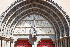 Landscapes and architectures of Brittany. Vannes, France, detail of the main portal of the St Peter cathedral Stock Image