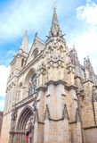 Landscapes and architectures of Brittany. Vannes, France, upward view of the facade of the St Peter cathedral Stock Photography