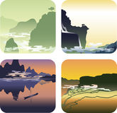 Landscapes of Asia. Four images of landscapes Asia: the mountain tops in the mist in shades of green, mountains reflected in the river at sunset in violet tones Royalty Free Stock Images