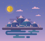 Landscapes with climper. Vector flat style nature landscape illustration with climber and hills, mountains, big moon and sea Stock Photography
