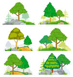 Landscapes with coniferous and deciduous trees, grass or rocks. Vector set. Landscapes with coniferous and deciduous trees, grass and rocks. Vector set of nature royalty free illustration