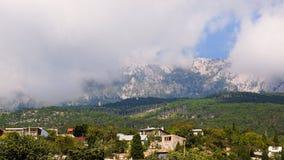 Landscapes Crimea. Alupka, Ay-Petri platea. Landscapes Crimea. Clouds descended on the mountains. Alupka, Ay-Petri platea royalty free stock image