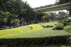 Landscapes design around viaduct in Nanning city view Stock Photo