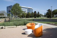 Landscapes design with modern buildings in Hall Park Stock Photography