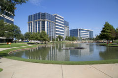 Landscapes design and office buildings in Hall Park Frisco Royalty Free Stock Photo