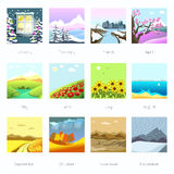 Landscapes in different season, weather. Stock Photography