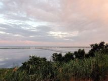 Landscapes of the flora of the Azov Sea and sea evening landscapes near the town of Primorsk of the Zaporizhzhya region. Ukraine. The panorama of the sea coast stock photo