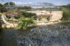 Landscapes has seen from water curtain. Children adventure garden  Dallas Arboretum, TX USA Stock Photos