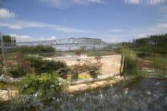 Landscapes has seen from water curtain. Children adventure garden  Dallas Arboretum, TX USA Royalty Free Stock Photos