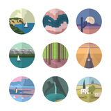 Landscapes icons collection Stock Image