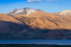 Landscapes of India country. Mountains during a sunset or sunrise with golden sun. Himalayas amazing views. Indian Himalayas. Jam. Mu and Kasmir state stock photography