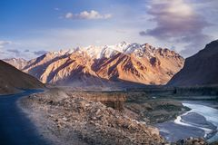 Landscapes of India country. Mountains during a sunset or sunrise with golden sun. Himalayas amazing views. Indian Himalayas. Jam. Mu and Kasmir state stock photos