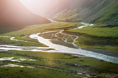 Landscapes of India country. Mountains during a sunset or sunrise with golden sun. Himalayas amazing views. Indian Himalayas. Jam. Mu and Kasmir state royalty free stock photo