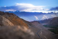Landscapes of India country. Mountains during a sunset or sunrise with golden sun. Himalayas amazing views. Indian Himalayas. Jam. Mu and Kasmir state stock photo