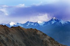 Landscapes of India country. Mountains during a sunset or sunrise with golden sun. Himalayas amazing views. Indian Himalayas. Jam. Mu and Kasmir state royalty free stock image