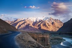 Landscapes of India country. Mountains during a sunset or sunrise with golden sun. Himalayas amazing views. Indian Himalayas. Jam. Mu and Kasmir state royalty free stock images