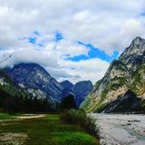 Landscapes in italy. Mountains dans river Stock Photos
