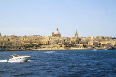 A landscapes of la valletta from a boat Royalty Free Stock Image