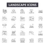 Landscapes line icons for web and mobile design. Editable stroke signs. Landscapes  outline concept illustrations royalty free illustration